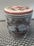 """Vintage Delft Red Hand Painted Covered Jar Made In Holland 4"""" Hairline Crack"""