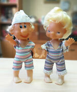 Set Lot Of Two Old Vintage German Dolls Children's Boy And Girl Plastic Germany