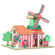 Assembly Diy Education Toy 3d Wooden Model Puzzles Tulip Farm Ranch Windmill