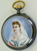 Unique Wwi Imperial Russian Pavel Buhre Gunmetalandhand Painted Enamel Award Watch