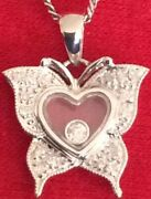 18k White Gold Necklace And Floating Diamond In Heartbordered Bybutterfly Pendant
