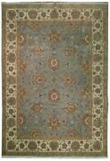 Blue Lustruous Wool Rug 10x14 Fine Quality Oushak Authentic Hand-knotted Rug