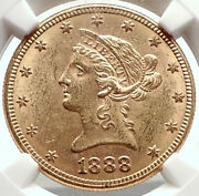 1888 S United States Of America Gold Eagle 10 Antique Coin Ngc Ms 62 I69070