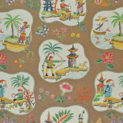 Clarence House Exclusive Chinoiserie Pagodas Toile Linen Fabric 10 Yards Brown