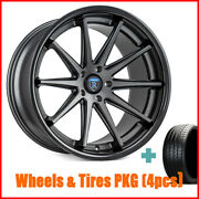 4pcs 20 Staggered Rohana Rc10 Matte Graphite Wheels And Tires