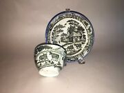 Staffordshire Pearlware Salopian Cup And Saucer Cottage Oxen Scene Black Ca. 1820