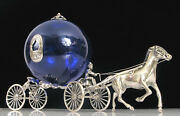 Sterling Silver Horse Drawn Royalty Cinderella Carriage Cobalt Blue Glass Italy