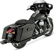 Vance And Hines Dual Black Header Pipes Exhaust For Harleys 46799 And03995-and03908 Flh Flt