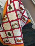 Handmade Baby Quilt Featuring Colorul Bugs Made From Recycled White Denim Blocks