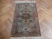 Traditional Gold Handmade Rug 3x5 Silk Antique Old Pre-owned Kashmir Rug