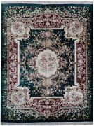 8and039 X 10and039 Artificial Silk Green Aubusson Plush French Design Handmade Rug