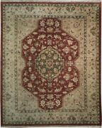 Ziglar Fire Brick Tone New Rug 8and039 X 10and039 96 X 117 In Red Hand-knotted Rug