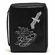 Bald Eagle Black 8 X 10.5 Embroidered Leather Like Vinyl Bible Cover Case Large