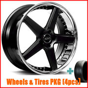 4/set 20 Staggered Azad Az008 Black With Chrome Wheels And Tires