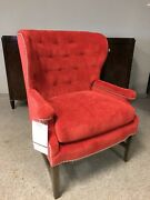 Thomasville Anthony Baratta Dover Barrel Back Wing Chair Red Corduroy 2610 15