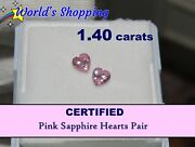 1.40 Carats Rare Porky Pink Sapphire Hearts Pair Certified - Uk Special Delivery