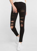 711 Destructed Jeans Black Ripped Skinny Jeans 26,27,28,29,30,31,32,33