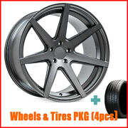 4new 20 Staggered Rohana Rc7 Matte Graphite Wheels And Tires