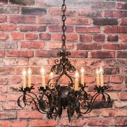 Antique French 8 Light Black Iron Chandelier