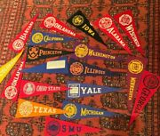 1940s Small Felt College Pennant Lot Rare W Sticker On Back Lot Of 19