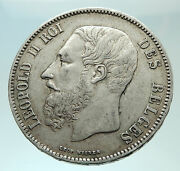 1869 Belgium With King Leopold Ii And Lion Genuine Silver 5 Francs Coin I75943