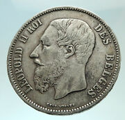 1869 Belgium With King Leopold Ii And Lion Genuine Silver 5 Francs Coin I75944