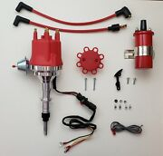 Small Cap Chevy Inline 6 Straight 230 250 292 Hei Distributor + Red 45000 Coil