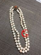 Antique Natural Angel Skin Red Coral Beads Necklace With 14k Gold Button