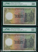 Egypt 10andpound 1951 Consecutive 2 Pcs P23d Pmg 53/50 About Uncirculated Rare