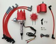 Small Cap Chevy Inline 6 194 230 250 292 Hei Distributor + Coil + Red Plug Wires