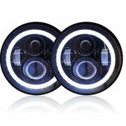 Genssi 7 Inch Round Led Headlights Halo Angle Eyes Signal For Jeep 97 16 Jk Lj M