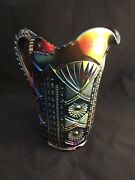 Rare Vintage Imperial Chatelaine Pattern Purple Carnival Glass Pitcher