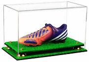 Clear Shoe Display Case For Soccer Cleat With Gold Risers And Turf Base A013-gr