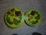 Vintage Retro Canister Set Green Plastic 2 Piece Rubbermaid Groovy Fun Sweet