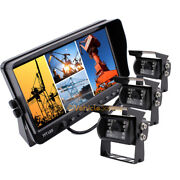 Ccd Rear View Backup Camera System 7 Quad Split Screen Monitor Kit For Trailer