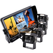 4x Ccd Color Backup Camera 7 Quad Monitor Car Rear View Camera System For Truck