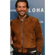 Menand039s Brown Suede Leather Jacket Bomber Jacket