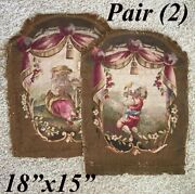 Pair 2 Antique French Aubusson Tapestry Panels Children Former Chair Backs