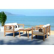 Outdoor Patio Furniture Set 4 Pc Armchair Bench Table Accent Pillows Lounge New