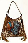 Raviani Western Indian Chief W/ Brindle Hair On Leather Bag W/fringes Usa