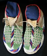 Pair Of Antique 1890and039s Dakota Sioux Indian Sinew Sewn Beaded Hide Moccasins