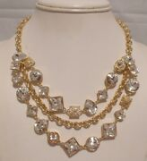 Nwt Authentic Coach Gold Plated Trio 3 Strands Crystal Cluster Necklace 96350
