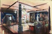 Set Design Motion Picture -vintage Pastel And Paint On Board. Great Colors