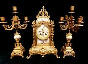 Japy Freres French Garniture Clock And Candelabra Champles