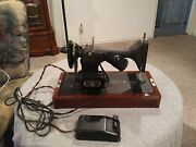 Ventage 1950 Singer Portable Exectric Sewing Machine Model 128 Crinkle Godzilla