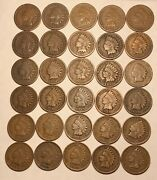 Short Set 1880 - 1909 Indian Head Cent Penny 30 Coins G / Vg Free Shipping