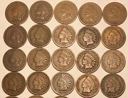 Short Set 1880 - 1899 Indian Head Cent Penny 20 Coins G / Vg Free Shipping