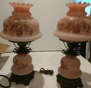 Matching Pair Vtg 24 Gwtw Hurricane Table Lamp Hand Painted Pink Floral Rose