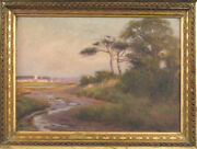Antique Alfred Hart 1816 Oil Painting Of New England Nantucket Coastal Scene