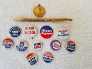 12 - 1972 Richard Nixon Re-elect The President Campaign Pinback Buttons And Pen